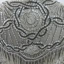 Glass Beaded Shawl Scarf  Black &Silver Beads Sharmark Las-Vegas