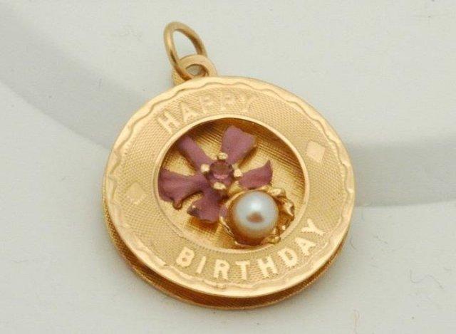 14K Gold Pearl &Tourmaline Birthday Pendant