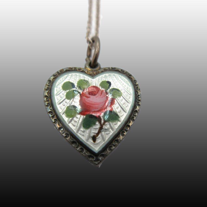 DAVID ANDERSEN WILLY WINNAESS STERLING SILVER GUILLOCHE ROSE ENAMEL HEART Necklace Sterling Chain