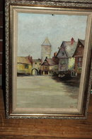 Vintage Dutch Painting Oil on board signed CHJ