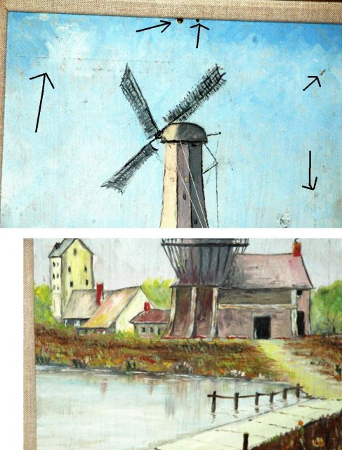 Vintage Dutch Windmill Oil Painting signed