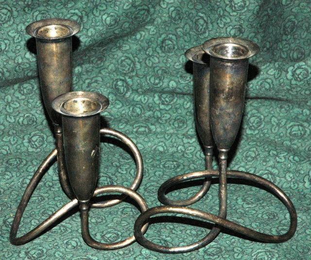 Napier Silver Modernist Candlesticks Pair