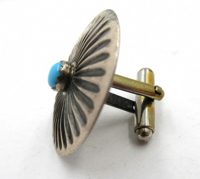 Sterling & Turquoise Native American Concho Cuff Links