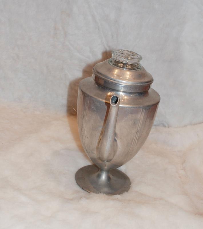 ART DECO Pedestal Aluminium Stove Top Percolator Coffee Pot