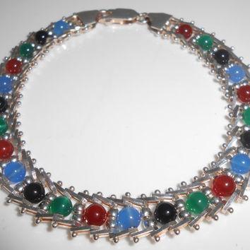Milor Sterling 925  Bracelet Multi-Color Gemstone Beads & Ladder Links