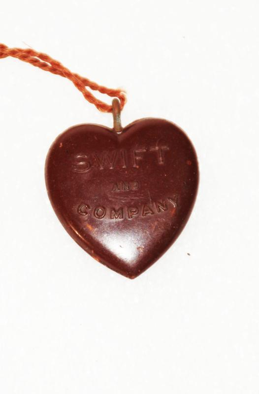 Bakelite heart-shaped advertising charm / FOB, Swift and Company (Stockyards) early 1900's