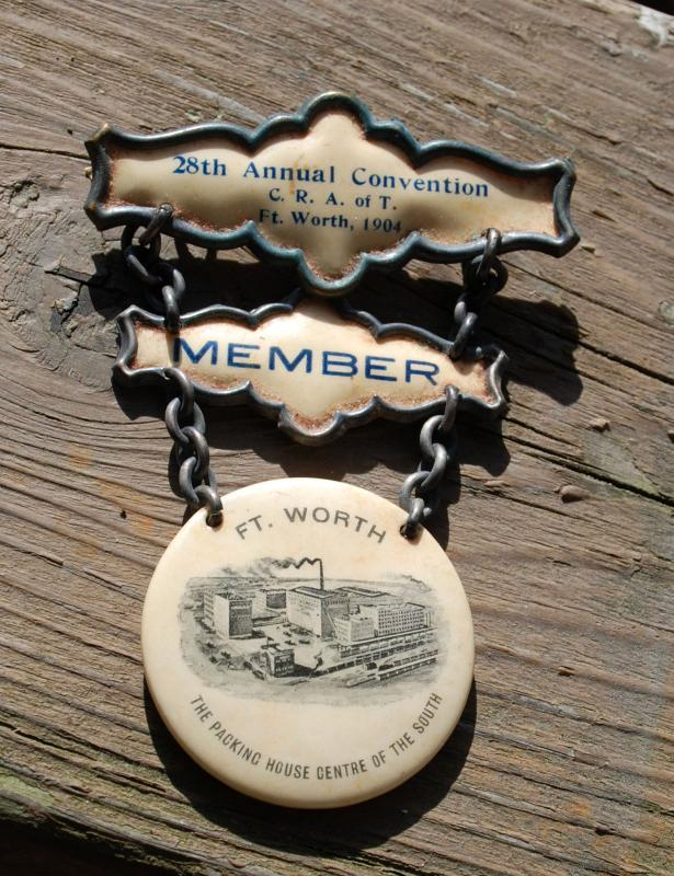 Rare 1904 C.R.A. of T. Ft. Worth Member  28th Annual Convention, Packing House Center of the South  3 tiered Badge Cattle Raisers Association of Texas