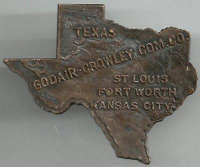 TEXAS PIN Badge GODAIR-CROWLEY COMMISSION CO, ST LOUIS FORT WORTH KANSAS CITY -