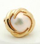 14K  Gold Lusterous Large 15 mm Mabe Pearl 4.5