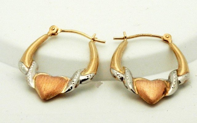 14k White, RoseYellow  Gold Heart Hoop Earrings