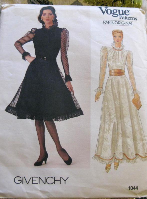 VOGUE  Paris Original Givenchy Fancy Dress    Sewing Pattern 1044 Paris 12 14 16 UNCUT