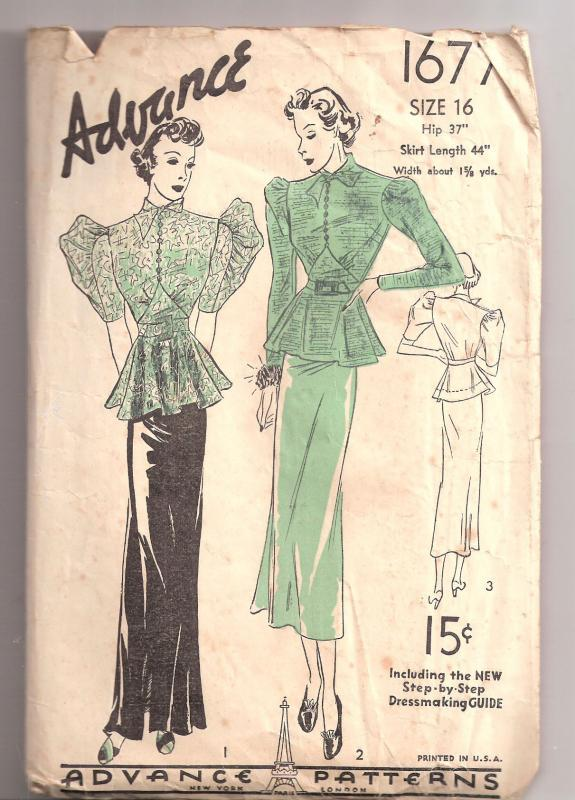 Vintage 1930s Pattern Dress Advance 1677 Pussy Bow Nipped Waist Large Sleeves   sz 16