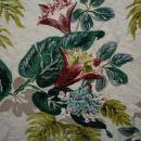 Barkcloth Fabric  Cohama Vat Tia Juana Exotic Flowers Leaves Hand Print Mid-Century Drapery Fabric Remnant