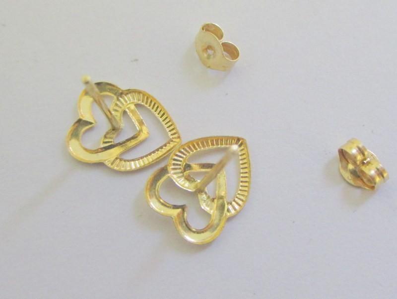 14kt  Yellow Gold Double Interlocking Heart Earrings