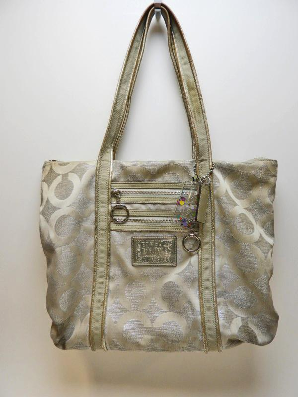 Coach Poppy Silver Op Art Lurex Glam Tote