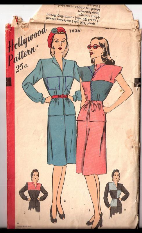 Vintage  Hollywood patterns  One Piece Dress  option for a color block design.1636 size 16
