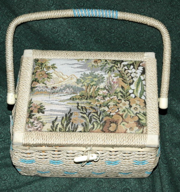 Mountain Scene Tapestry Wicker Sewing Basket  **PRICE REDUCTION**!