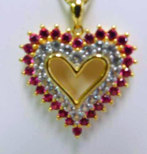 Ruby & White Sapphires Sterling Vermiel  Heart Pendant and Chain
