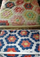 Hexagon, Honeycomb and Grandmother's Flower Garden Large Double Sided  Hexagon Quilt needs repair