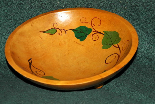 Painted & Turned Wooden Bowl with bun feet