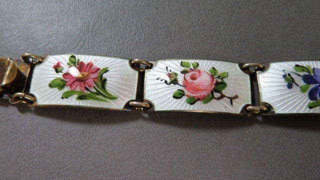 """Finn Jensen Norway Sterling Silver Guilloche Enamel Multi Flowers Link Bracelet  8"""""""