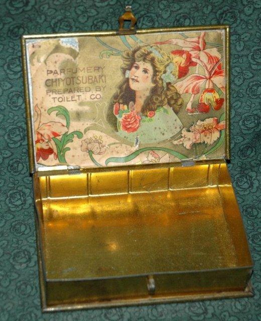 1898 Locking Tin PARFUMERY CHIYOTSUBAKI  -***PRICE REDUCTION!***