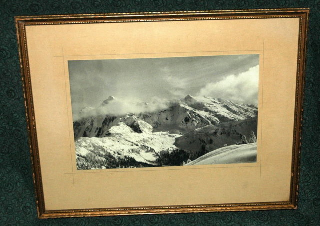 Old B/W Framed Photograph Olympic Mountains