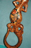 Carved Painted Lizard  -African