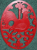 Red Painted Metal Rooster Trivet Decor