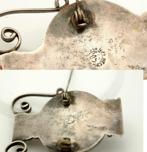 Old Mexian Sterling Urn Pin Brooch