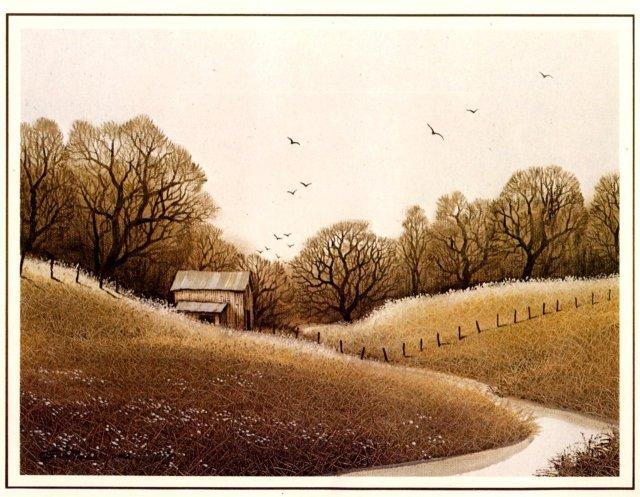 Nice Fall Winter Pasture Scene Litho Print