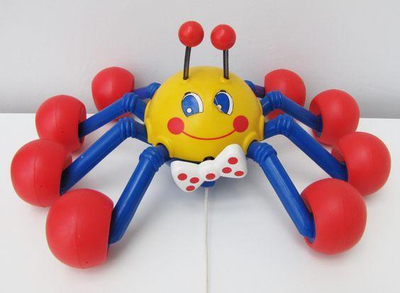 Vintage Kiddicraft Webster Spider Pull-along Toddler Baby Toy