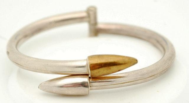 Taxco Mod. Hinged Sterling Bullet Bracelet