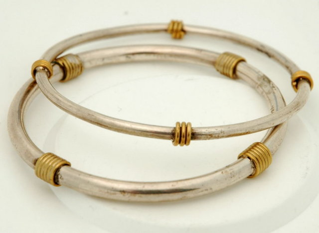 2 Sterling Silver Taxco Mexico Bangle Bracelets