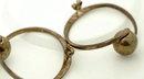 Mexico Sterling Modernist Hoop Ball Earrings-