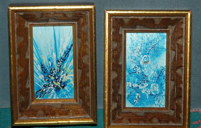 2 mini  art abstract oil paintings