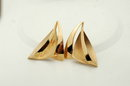 Large Vermeil Sterling Sailboat Earrings signed