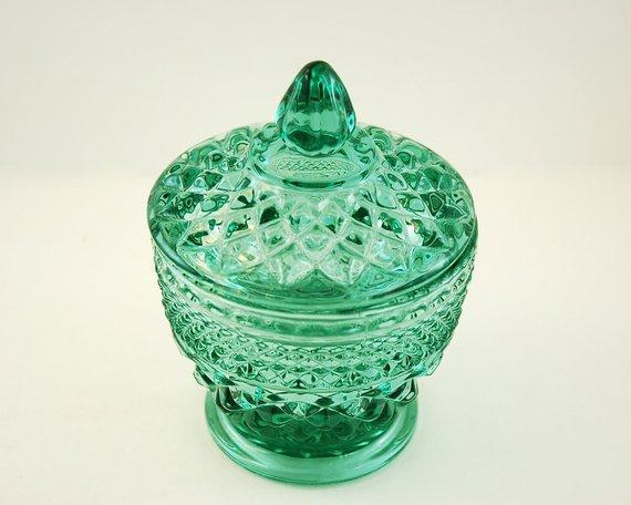 Anchor Hocking Candy Bowl or Sugar Bowl with Lid, Teal Green Glass, Wexford Pattern,