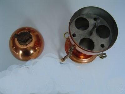 Copper Egg Cooker Boiler  , Egg Shape with Hen Finial
