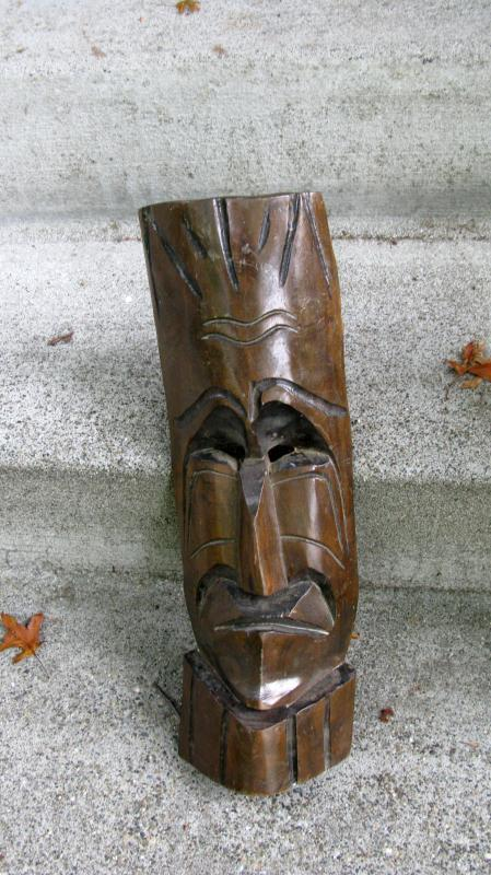 Tiki Masks Two Large Wooden Carved Tribal Tiki Masks  Mid Century
