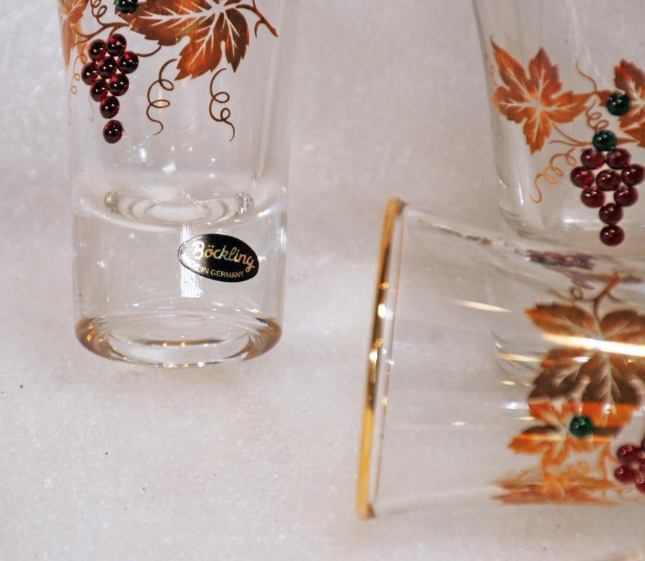 BOCKLING SHOT GLASS SET OF 9 GERMAN WITH SWAVROSKI CRYSTAL GRAPES & GOLD LEAF
