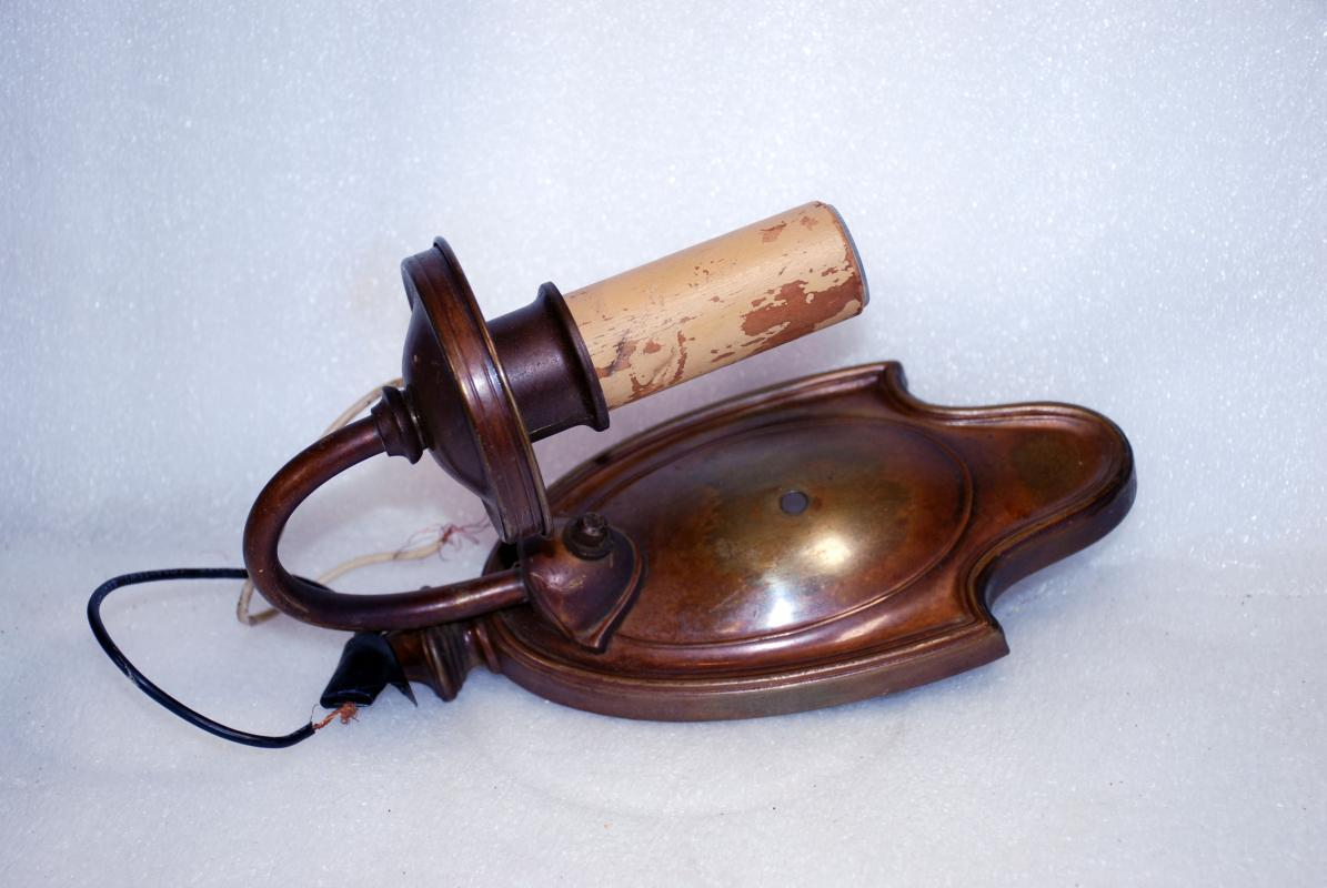 1920'S LIGHTOLIER 'AFTER SUNSET' BRONZE SCONCES TWO ARM LIGHT & ONE ARM FIXTURES WITH CANDLES