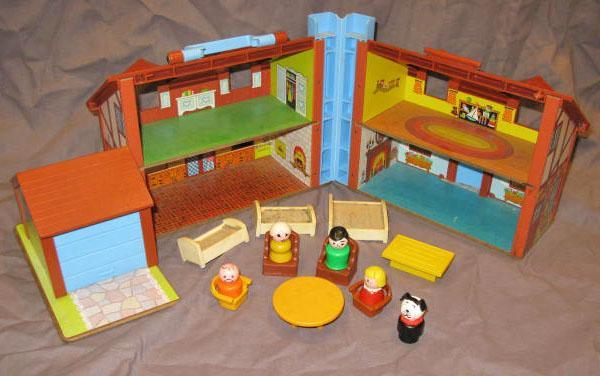 Vintage Fisher Price House Vintage Little People Playset Toy Play Fami
