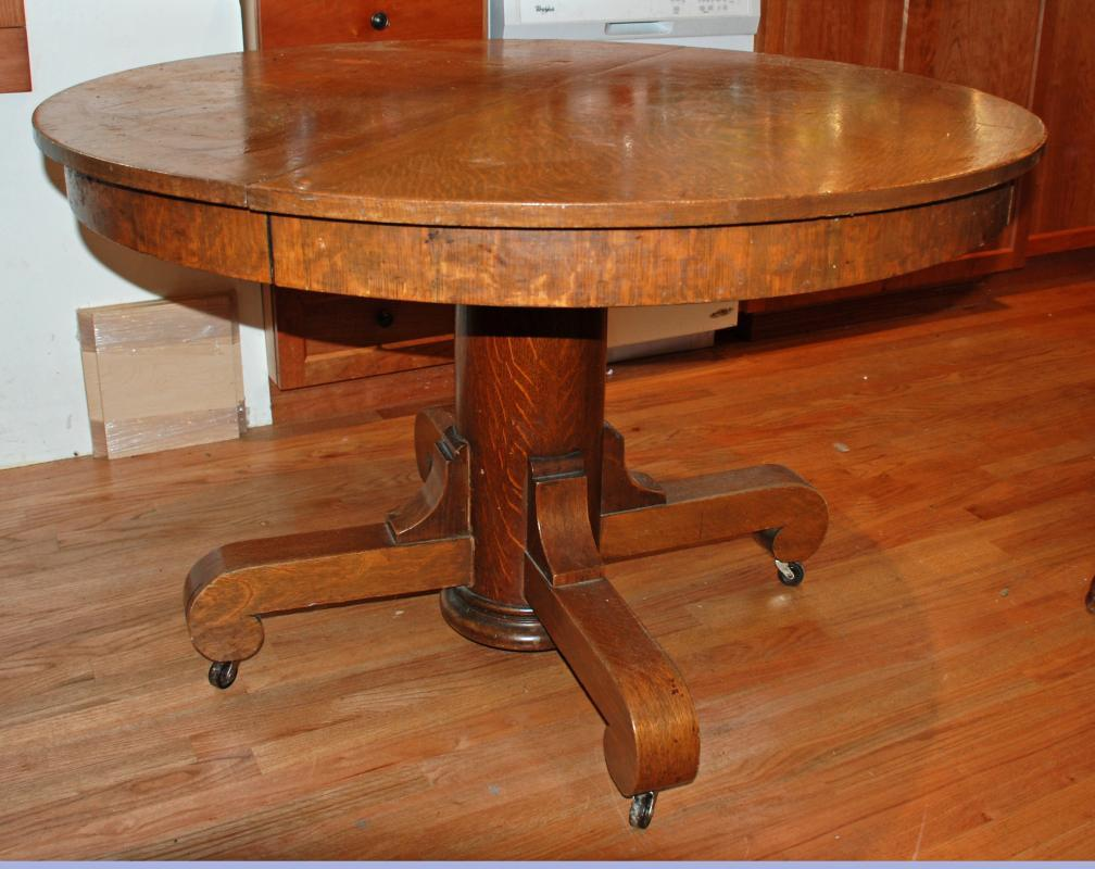 Mission Oak Round Pedestal Table, Tiger Oak Local Pick only