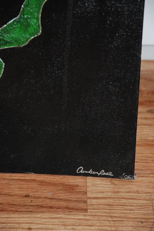 Green Cat Acrylic Painting, Outsider Art signed & dated