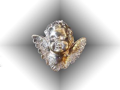 Large Sterling Silver Cherub Angel3-D Pendant Repousse , RM Thursh Christmas Ornament .