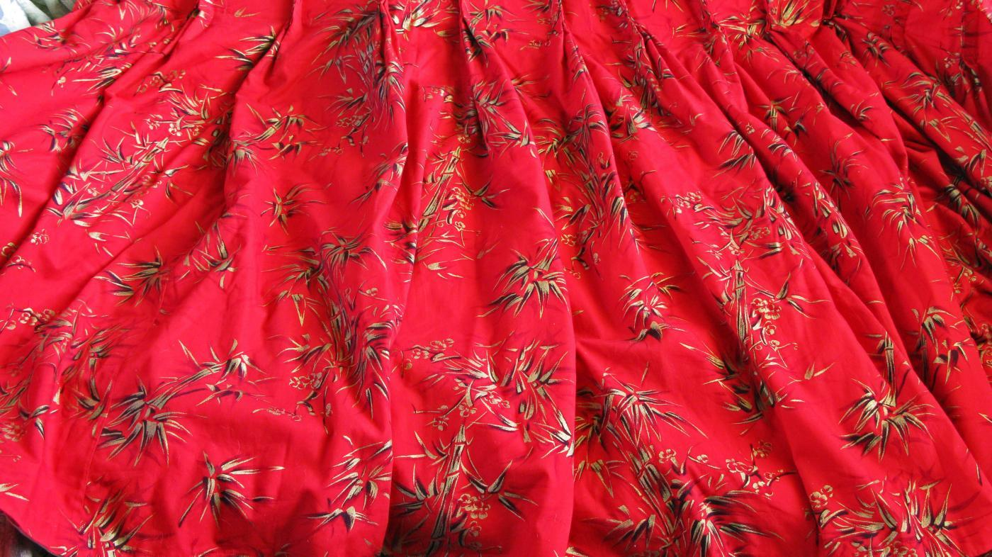 Asian inspired  Gilded Bamboo Red Cotton Fabric Curtain Panel.