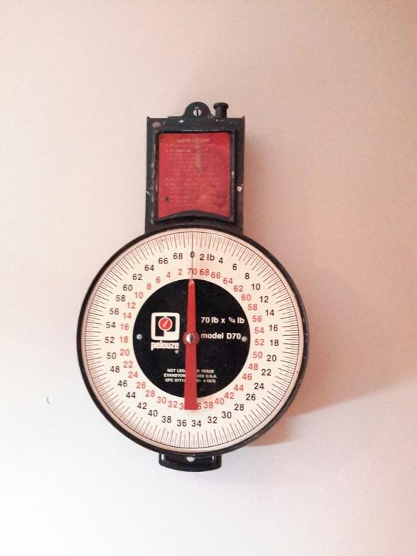Vintage Pelouze Hanging  Weighing Scale 70 lb  Model  D70