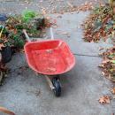 Vintage Child's Toy Red Wheelbarrow  Pressed Steel 1940's -50's