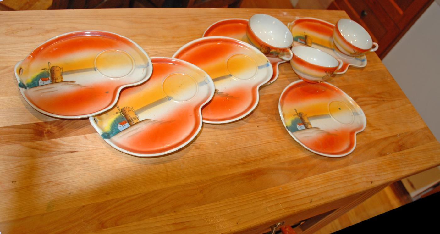 Noritake Luncheon Plates with Cups Hand Painted Windmill Design